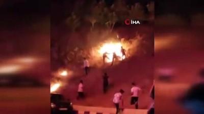 havai fisek -  İzmir'de pes dedirten görüntüler: Havai fişek yangın çıkardı, o devam etti