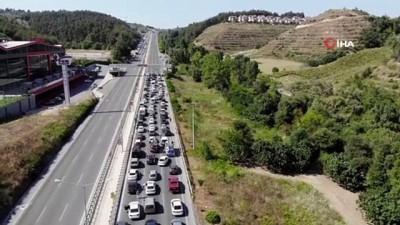 yuksek gerilim -  Bursa'da orman yangınına tedbir için ana yolu trafiğe kapatıp tellere bakım yaptılar