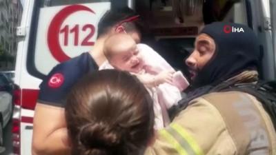 yangin panigi -  Güngören'de yangın paniği: 1'i bebek 5 kişi kurtarıldı